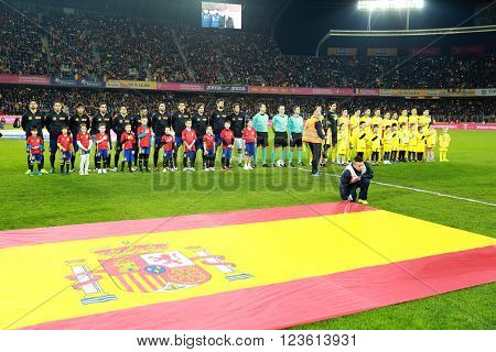 National Football Team Of Spain And Romania Pose For A Group Photo