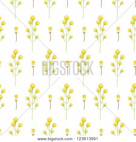 Spring wild yellow flower field seamless pattern. Floral tender fine summer vector pattern on white background. For fabric textile prints and apparel.