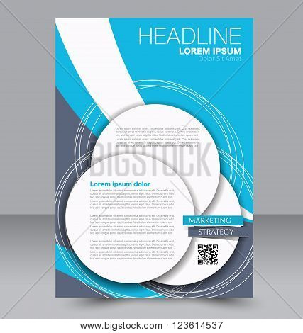 Abstract flyer design background. Brochure template. Can be used for magazine cover business mockup education presentation report. Blue color.