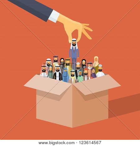 Arab Recruitment Hand Picking Business Person Candidate Box Muslim People Crowd Man Woman Arabic Human Resources Flat Vector Illustration