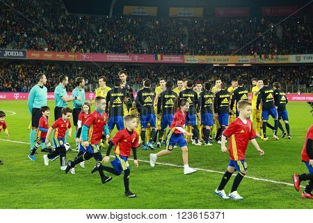 CLUJ-NAPOCA, ROMANIA - MARCH 27, 2016: The National Football Team of Spain pose for a group photo before a friendly match against Romania before Euro 2016