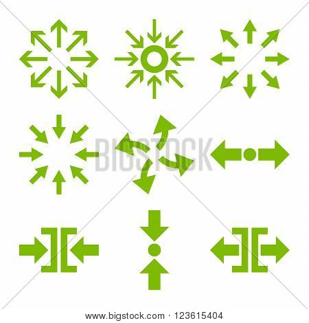 Compress and Explode Arrows vector icon set. Collection style is eco green flat symbols on a white background.