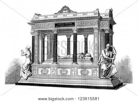 The Tomb of General Lamoriciere, at the Cathedral of Nantes, vintage engraved illustration. Magasin Pittoresque 1880.