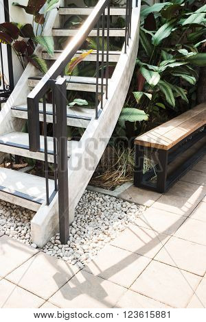 Outdoor stairs in the garden stock photo