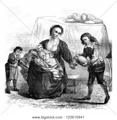 Fragment of Teniers table of mercy works in the Louvre Museum, vintage engraved illustration. Magasin Pittoresque 1878.