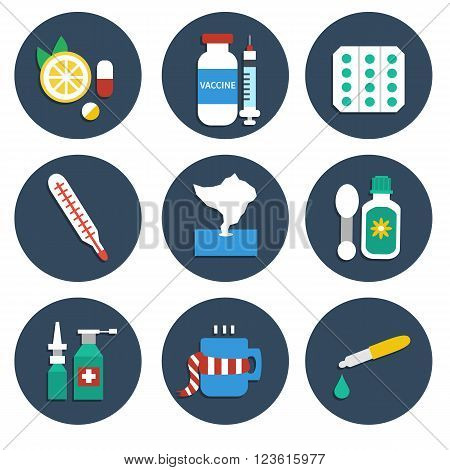 Vector set of Influenza medicine icons. Set of infographic element. Vector flat icons isolated on white background. Help for flu and cold.