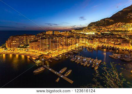 Fontvieille Monaco Harbor Monte carlo at night
