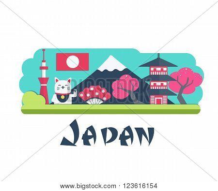 Vector Japan Travel Landmark. Infographic element for Japan traveling.