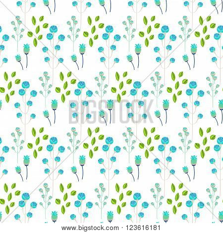 Spring wild flower blue millefleurs field seamless pattern. Floral tender fine summer vector pattern on white background. For fabric textile prints and apparel.
