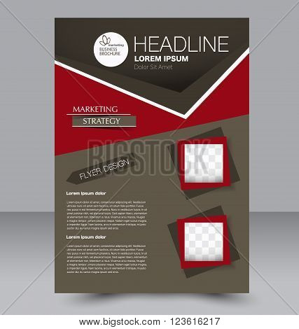 Abstract flyer design background. Brochure template. Can be used for magazine cover business mockup education presentation report. Red and brown color.