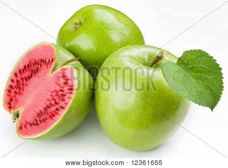 Flesh watermelon to cut green apple. Product of genetic engineering. Computer assembly.