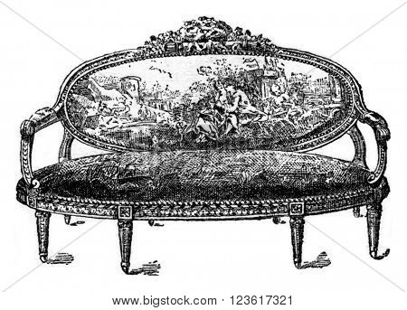 Sofa Louis XVI, vintage engraved illustration. Dictionary of words and things - Larive and Fleury - 1895.