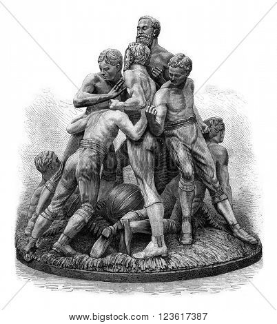 The game of football in England, terracotta group, Tinworth, vintage engraved illustration. Magasin Pittoresque 1880.