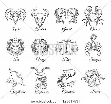 Zodiac graphic signs vector. Astrological zodiac symbols or zodiac icons