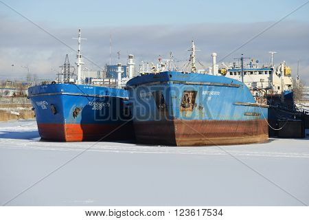 ST. PETERSBURG, RUSSIA - FEBRUARY 17, 2016: Two of the tanker