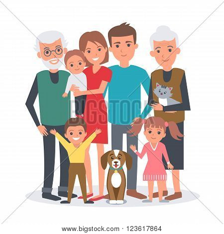 Big family vector illustration. Big family with children parents grandparents and pets. Family portrait isolated on white background.