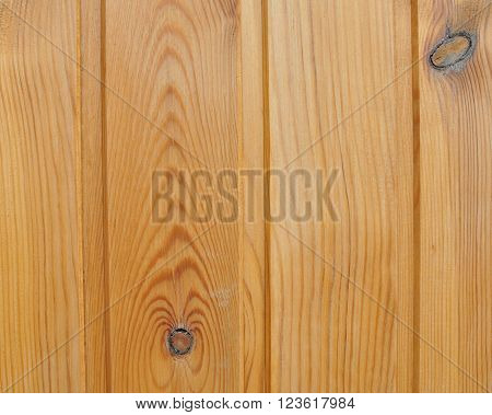 Wooden Wall of Planed Pine Boards with Knots