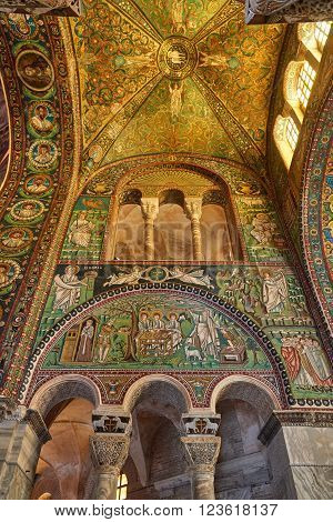 Ravenna, Italy - Febuary 18, 2016: Interior of Basilica of San Vitale, which has important examples of early Christian Byzantine art and architecture. It was resignated as Unesco World Heritage.