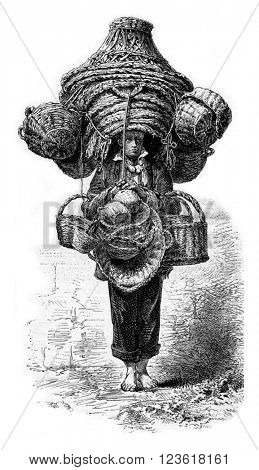 The Merchant of baskets, vintage engraved illustration. Magasin Pittoresque 1873.