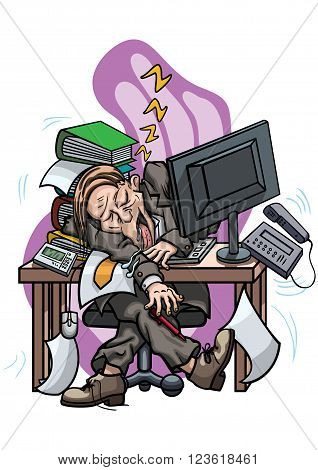 Illustration cartoon man dressed in a costume. He seats at the table with computer and snoring