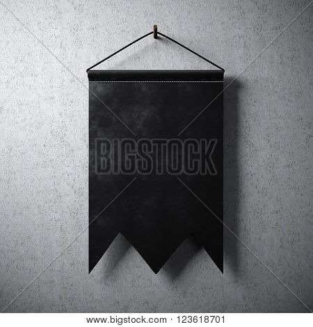 Black blank pennant hanging on concrete wall. Ready for your business information. High detailed texture material.  Abstract background. 3D rendering