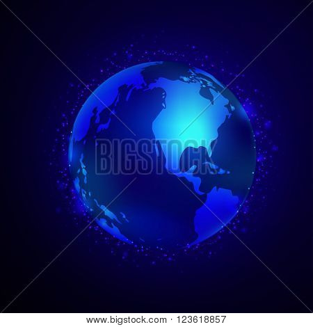 Earth Vector Space Background on dark blue