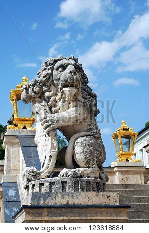 Nymphenburg Palace guardian lion with shield sculpture Germany