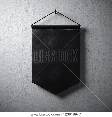 Blank black pennant hanging concrete wall. Ready for your business information. High detailed texture material. Soft shadows. Abstract background. 3D rendering