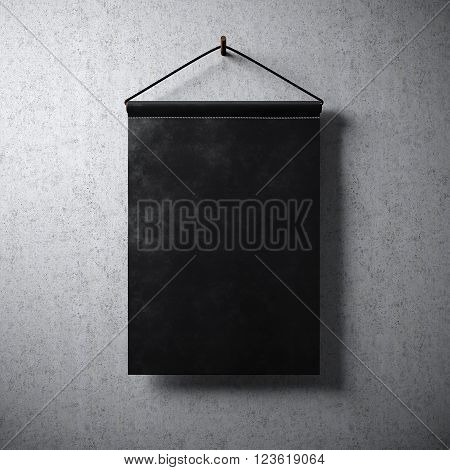 Black pennant hanging concrete wall. Ready for your business information. High detailed texture material. Soft shadows. Abstract background. 3D rendering