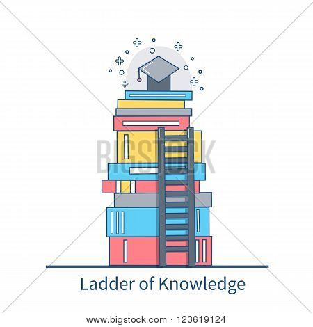 Education vector flat thin line illustration.Books stack with graduate cap on top and ladder over heap of books. Steps to knowledge in university and college classes.
