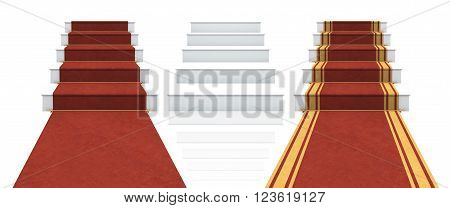 Collection of isolated white stairs with red carpet