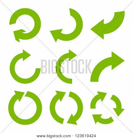 Rotate Clockwise vector icon set. Collection style is eco green flat symbols on a white background.
