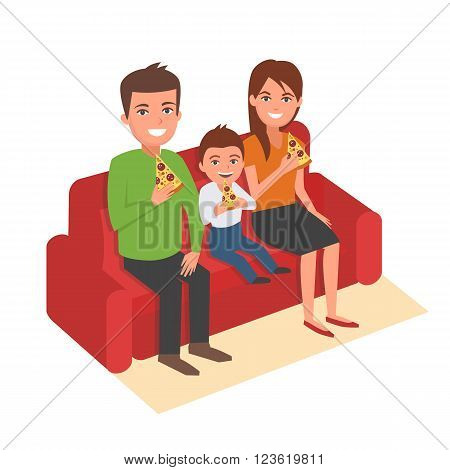 Family is sitting on sofa and eating pizza. Vector cartoon illustration. Family portrait isolated on white background.