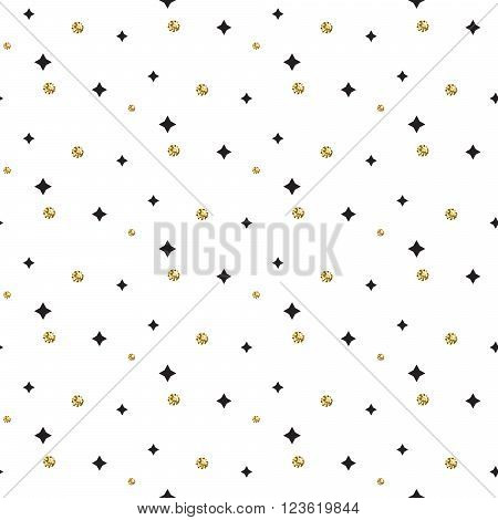 Gold foil glitter polkadot and black stars seamless pattern. Vector shimmer abstract circles texture. Sparkle shiny geometric background.