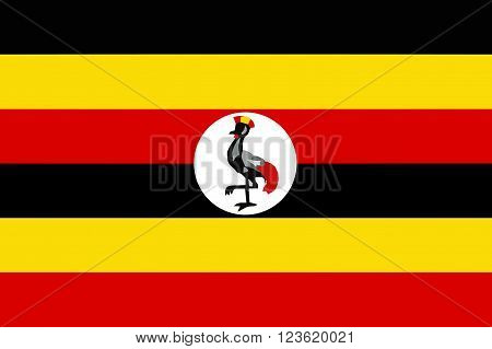 A flag of Uganda on white background