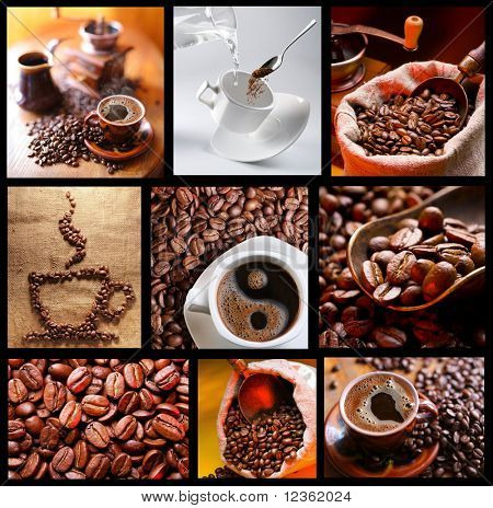 Collection of images with coffee.