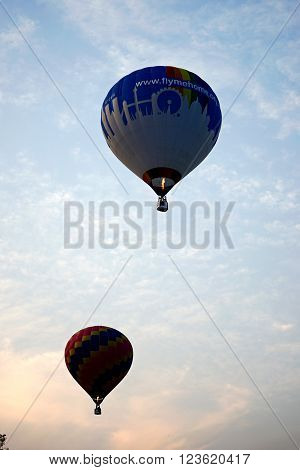 Hot Air Balloon Flying Silhouette