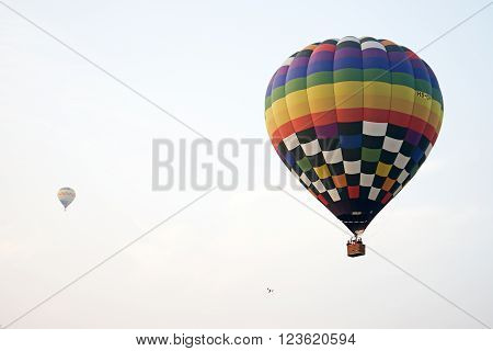 Two Hot Air Balloon Flying