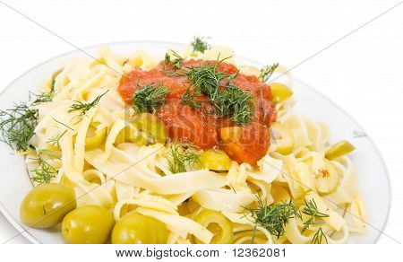 Pasta With Olive And Catchup