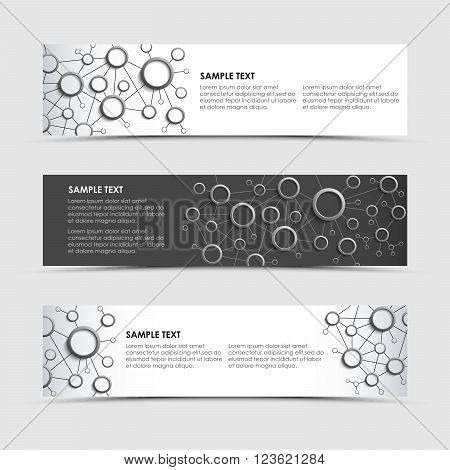 Horizontal banners with network connection design template vector eps 10