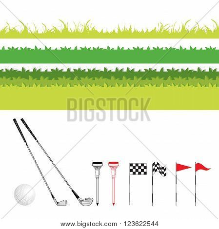 Grass and bush various form for lawn golf. Vector Set Golf Equipment Icons. Golf collection include: grass bush flag holeball tee stick club