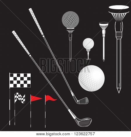 Golf elements can use for poster banner flyer. Vector Set Golf Equipment Icons on black board. Golf collection include: flag holeball tee stick club. Black and white color icons for golf
