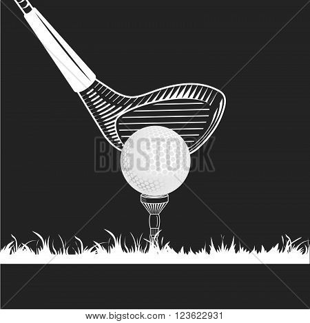 Golf club close-up. Golf club ball tee grass white color on black background. Golf tee with ball and wood club on grass. Golf equipments icons