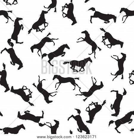 Background with many horses. Seamless pattern with silhouette of horse. Vector seamless pattern with horses. Black horse seamless pattern on isolated background