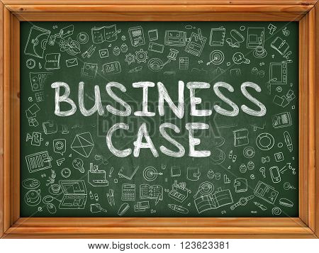 Green Chalkboard with Hand Drawn Business Case with Doodle Icons Around. Line Style Illustration.