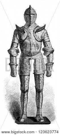 Armour of Henry II, the Louvre Museum, vintage engraved illustration. Magasin Pittoresque 1873.