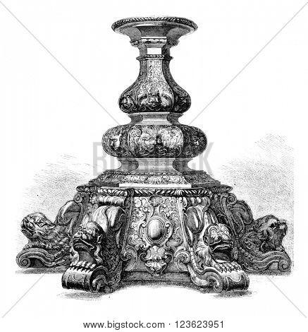 Base carved ebony, vintage engraved illustration. Magasin Pittoresque 1870.
