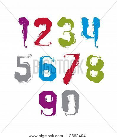 Modern watercolor brushed numbers set hand-drawn colorful stylish numerals isolated on white background.