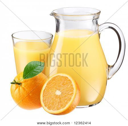 Full glass and jar of orange juice and fruits are near. Isolated on a white.