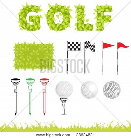 Clipart for design sport background. Golf icon set. Vector Set Golf Equipment Icons. Golf collection include: grass bush flag holeball tee stick. Golf symbol in graphic style
